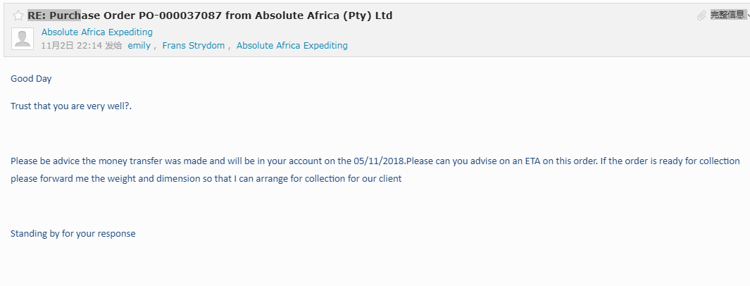 Thanks for great company Absolute-Africa to purchase shaping